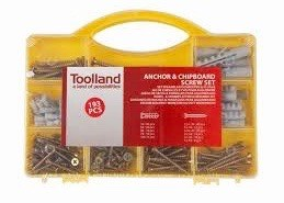 193 Pcs Anchor and Chipboard Screw Set