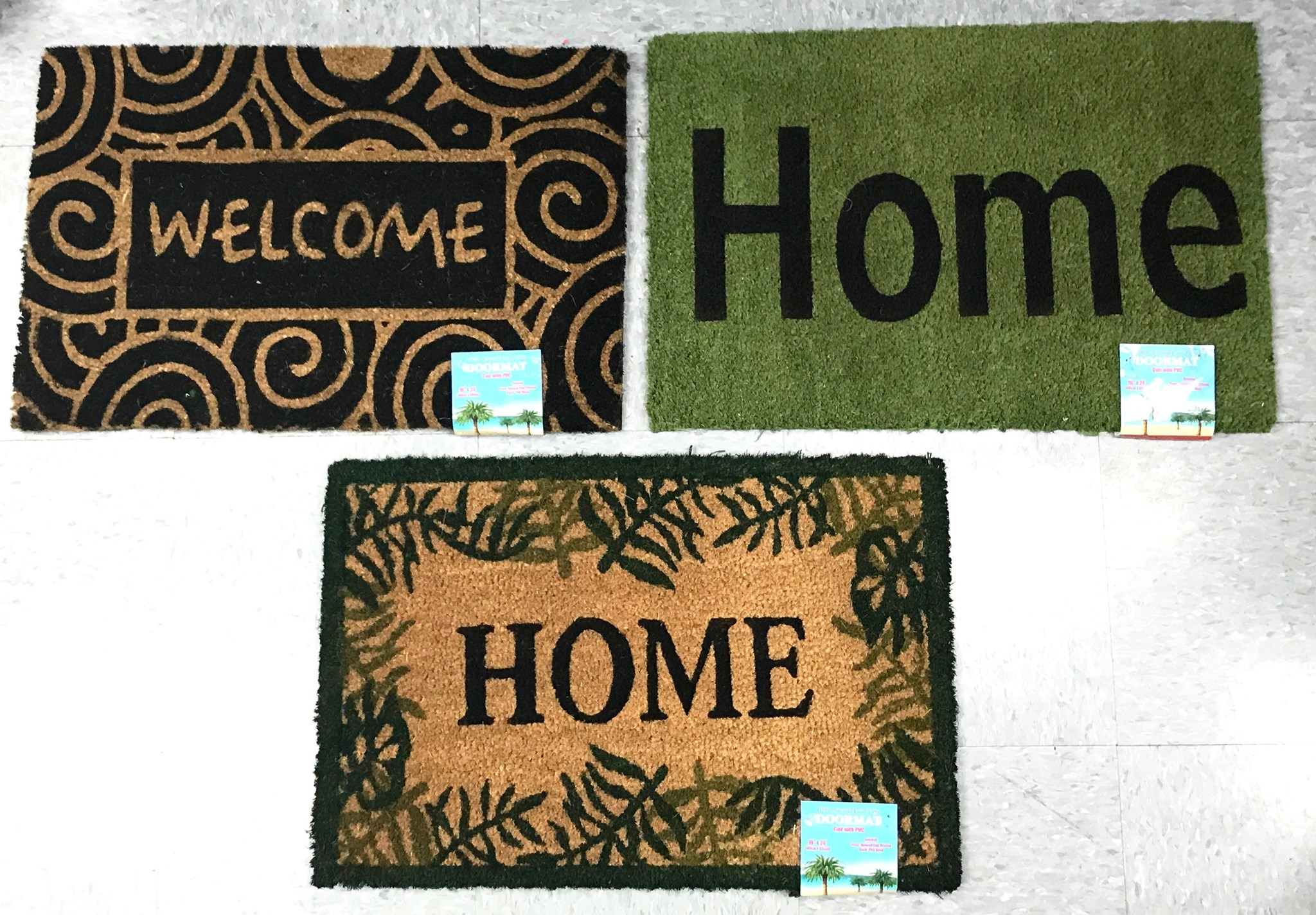 Welcome PVC Back Coir Mat 16x24