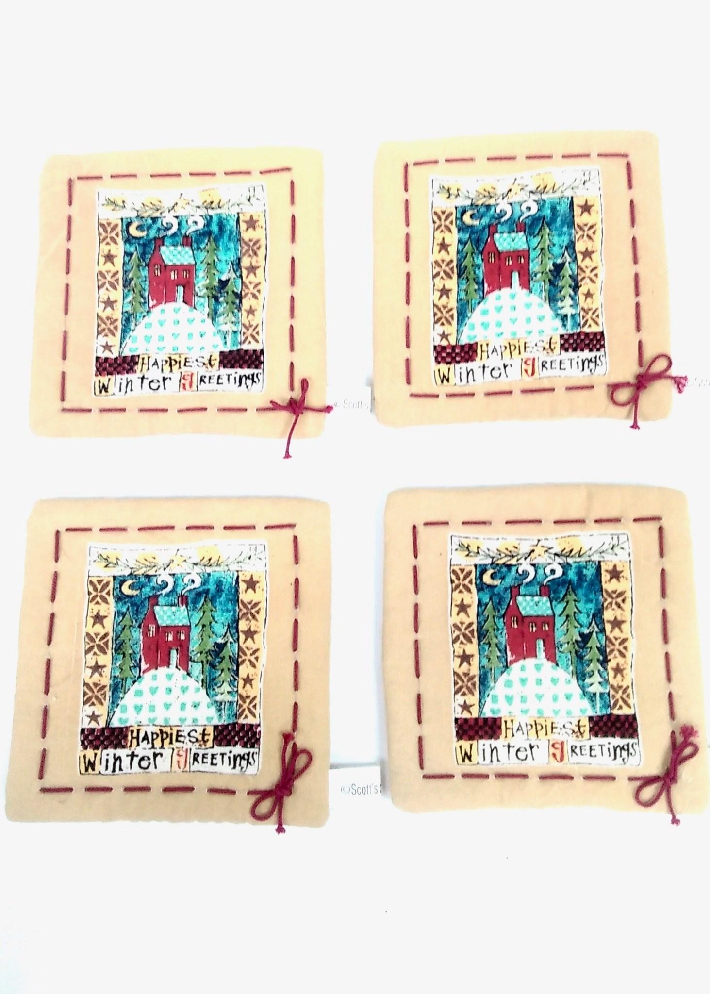 Winter Greeting Fabric Coaster Set/4
