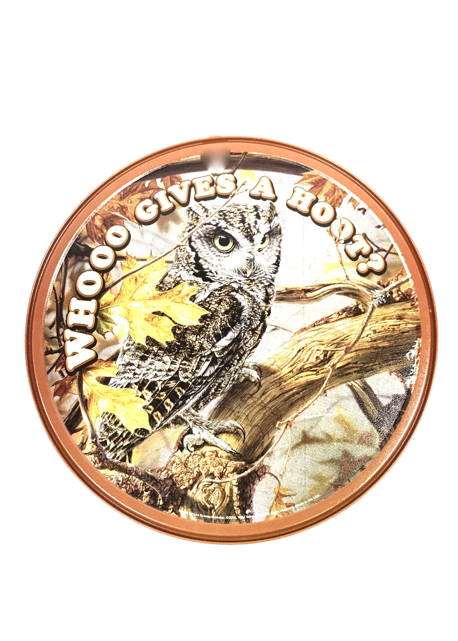 (7004) Owl Give Hoot Round Tin Sign