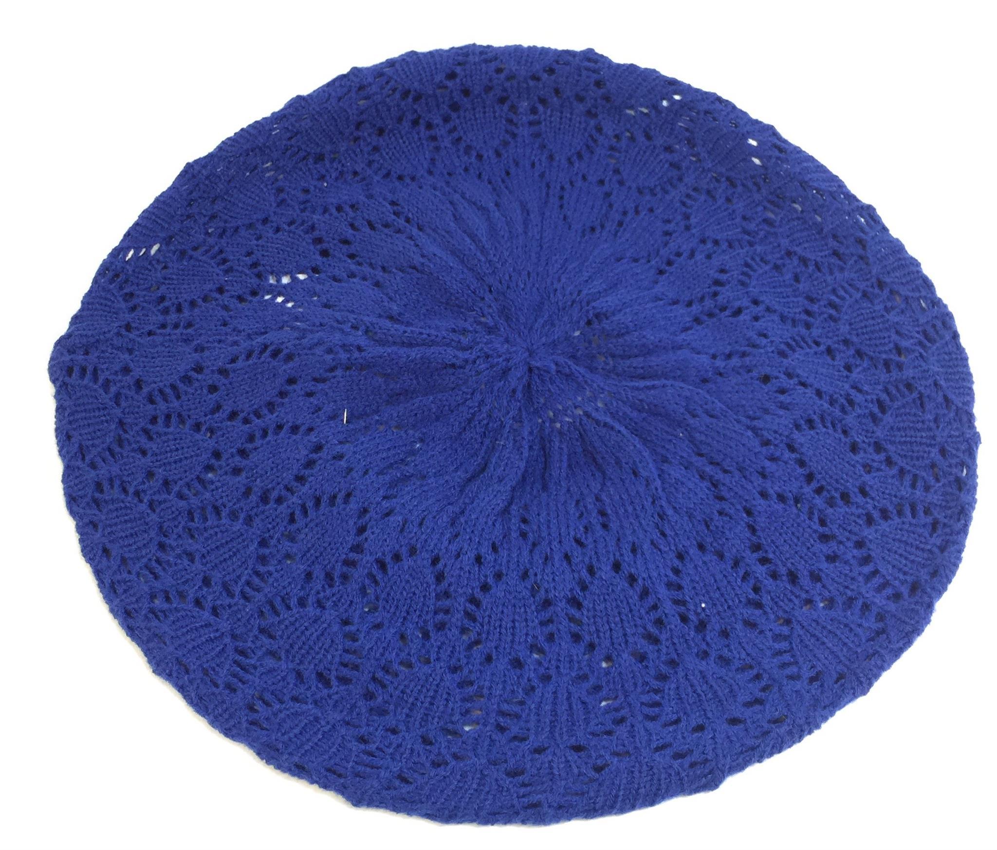 Blue Knit Macrame Knit Beret